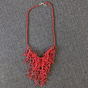 Coral Beaded Fringe Necklace